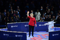 Washington, DC - March 21, 2016: 2016 Democratic presidential candidate Hillary Clinton waves after addressing attendees of the AIPAC Policy Conference at the Verizon Center in the District of Columbia, March 21, 2016. AIPAC is engaged in promoting and protecting the U.S.-Israel relationship to enhance security for both countries. (Photo by Don Baxter/Media Images International)