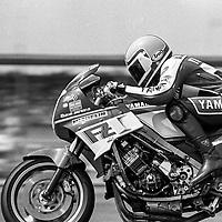 Mike Baldwin, #1F Yamaha, Daytona 200, AMA Superbikes, Daytona International Speedway, Daytona Beach, FL, March 9, 1986.(Photo by Brian Cleary/bcpix.com)