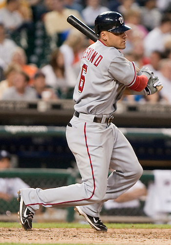June 15, 2010: Washington Nationals shortstop Ian Desmond (#6) follows through on swing in game action between the Washington Nationals and the Detroit Tigers at Comerica Park in Detroit, Michigan.  The Tigers defeated the Nationals 7-4..