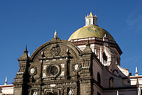 Tiled dome of the cathedral in the city of Puebla, Mexico. The historical center of Puebla is a UNESCO World Heritage Site.
