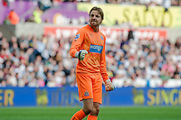 Saturday 4th  October 2014 Pictured: Tim Krul of Newcastle United celebrates his teams goal <br /> Re: Barclays Premier League Swansea City v Newcastle United at the Liberty Stadium, Swansea, Wales,UK