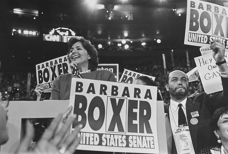 Barbara Boxer, D-Calif., at 1992 Democratic National Convention, in 1992. (Photo by Maureen Keating/CQ Roll Call via Getty Images)