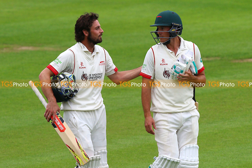 Leicestershire batsmen Ned Eckersley (L) and Neil Dexter celebrate victory during Essex CCC vs Leicestershire CCC, Specsavers County Championship Division 2 Cricket at the Essex County Ground on 22nd June 2016