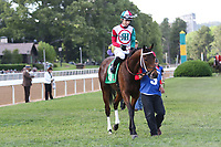 HOT SPRINGS, AR - April 15: Inside Straight #5 and jockey Giovanni Franco in the infield paddock prior to the Oaklawn Handicap at Oaklawn Park on April 15, 2017 in Hot Springs, AR. (Photo by Ciara Bowen/Eclipse Sportswire/Getty Images)
