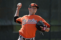 Pitcher Zachary Davies (48) of the Baltimore Orioles organization in the bullpen during a minor league spring training camp day game on March 23, 2014 at Buck O'Neil Complex in Sarasota, Florida.  (Mike Janes/Four Seam Images)