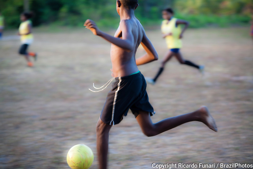 Countryside Brazil soccer. In Brazil black boys with remarkable talent for football usually have the nickname of Pelé. Rural area of Maranhao State, Northeast Brazil.