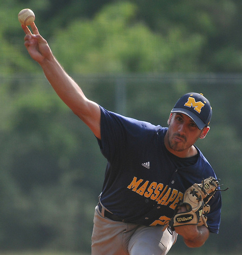 Mike Grisanti #22 of Massapequa takes the mound in the bottom of the seventh inning after serving as the designated hitter in the Nassau County varsity baseball Class AA final against Oceanside at SUNY Old Westbury on Saturday, May 26, 2018. He picked up a save as Massapequa won 6-5 to take Game 1 of the best-of-three series.