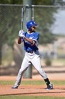 Los Angeles Dodgers outfielder Jacob Scavuzzo (22) during an Instructional League game against the Cincinnati Reds on October 11, 2014 at Goodyear Training Complex in Goodyear, Arizona.  (Mike Janes/Four Seam Images)