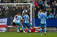 Bolton Wanderers' goalkeeper Matthew Alexander saves at the feet of Coventry City's Maxime Biamou <br /> <br /> Photographer Andrew Kearns/CameraSport<br /> <br /> The EFL Sky Bet Championship - Bolton Wanderers v Coventry City - Saturday 10th August 2019 - University of Bolton Stadium - Bolton<br /> <br /> World Copyright © 2019 CameraSport. All rights reserved. 43 Linden Ave. Countesthorpe. Leicester. England. LE8 5PG - Tel: +44 (0) 116 277 4147 - admin@camerasport.com - www.camerasport.com