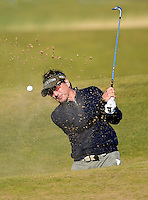 Amateur Pritesh Shah hits from a bunker during Round 2 of the 2015 Alfred Dunhill Links Championship at the Old Course, St Andrews, in Fife, Scotland on 2/10/15.<br /> Picture: Richard Martin-Roberts | Golffile