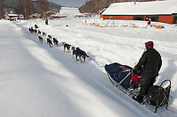 Martin Buser runs down the road past a welcoming dog team snow sculputre and *welcome sign* as he arrives in Takotna during Iditarod 2009