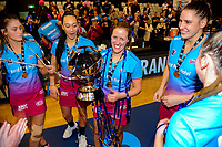 Wendy Frew celebrates her teams winning of the ANZ Premiership netball grand final between the Central Pulse and Southern Steel at Arena Manawatu in Palmerston North, New Zealand on Sunday, 12 August 2018. Photo: Dave Lintott / lintottphoto.co.nz