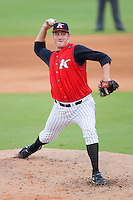 Relief pitcher Leroy Hunt #40 of the Kannapolis Intimidators in action versus the Bowling Green Hot Rods at Fieldcrest Cannon Stadium August 23, 2009 in Kannapolis, North Carolina. (Photo by Brian Westerholt / Four Seam Images)