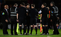 Lincoln City manager Danny Cowley speaks to Referee Ross Joyce at the end of the game<br /> <br /> Photographer Chris Vaughan/CameraSport<br /> <br /> The EFL Checkatrade Trophy Group H - Lincoln City v Mansfield Town - Tuesday September 4th 2018 - Sincil Bank - Lincoln<br />  <br /> World Copyright © 2018 CameraSport. All rights reserved. 43 Linden Ave. Countesthorpe. Leicester. England. LE8 5PG - Tel: +44 (0) 116 277 4147 - admin@camerasport.com - www.camerasport.com
