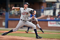 Rome Braves starting pitcher Max Povse (33) delivers a pitch during a game against the Asheville Tourists on May 15, 2015 in Asheville, North Carolina. The Braves defeated the Tourists 6-0. (Tony Farlow/Four Seam Images)