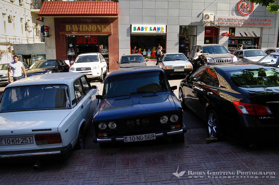 Azerbaijan, Baku. Luxury cars is a common sight in the capital, parked alongside old Lada's.