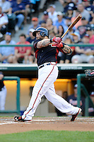 Left fielder Jonny Gomes (7) of the Atlanta Braves bats in a Spring Training game against the New York Yankees on Wednesday, March 18, 2015, at Champion Stadium at the ESPN Wide World of Sports Complex in Lake Buena Vista, Florida. The Yankees won, 12-5. (Tom Priddy/Four Seam Images)