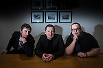 "© Joel Goodman - 07973 332324 . 07/11/2014 .  Salford Quays , UK . Jim Poyser , Mike Perls and Justin Moorhouse who have launched "" Working Men's Productions "" to produce northern comedy for television . Photo credit : Joel Goodman"
