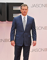 Matt Damon at the &quot;Jason Bourne&quot; European film premiere, Odeon Leicester Square cinema, Leicester Square, London, England, UK, on Monday 11 July 2016.<br /> CAP/CAN<br /> &copy;CAN/Capital Pictures /MediaPunch ***NORTH AND SOUTH AMERICAS ONLY***