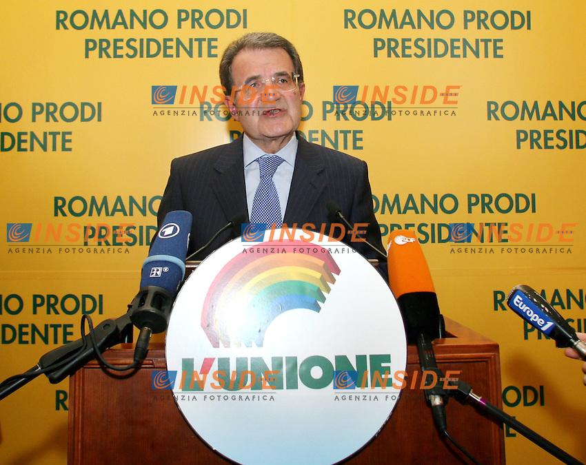 Roma 19-04-2006 Conferenza Stampa di Romano Prodi, a seguito della conferma da parte della Cassazione della vittoria dell'Unione alle elezioni politiche 2006<br /> Photo Serena Cremaschi Insidefoto