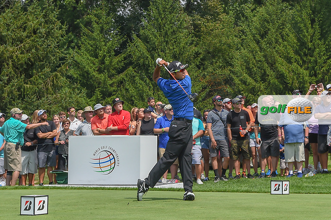 Hideki Matsuyama (JPN) watches his tee shot on 4 during 2nd round of the World Golf Championships - Bridgestone Invitational, at the Firestone Country Club, Akron, Ohio. 8/3/2018.<br /> Picture: Golffile | Ken Murray<br /> <br /> <br /> All photo usage must carry mandatory copyright credit (© Golffile | Ken Murray)