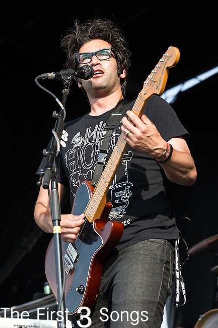 Justin Pierre of Motion City Soundtrack performs during the Vans Warped Tour at the Klipsch Music Center in Indianapolis, IN.