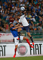 Olivier Giroud and Giorgio Chiellini  during the  friendly  soccer match,between Italy  and  France   at  the San  Nicola   stadium in Bari Italy , September 01, 2016<br /> <br /> amichevole di calcio tra le nazionali di Italia e Francia