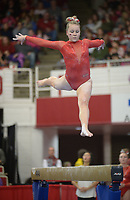 NWA Democrat-Gazette/ANDY SHUPE<br />Arkansas' Sydney Laird competes Friday, Jan. 12, 2018, in the beam portion of the 11th-ranked Razorbacks' meet with sixth-ranked Kentucky in Barnhill Arena in Fayetteville. Visit nwadg.com/photos to see more photographs from the meet.