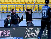 Ground staff celebrate catching a Chris Jordan six. Twenty20 International cricket match between NZ Black Caps and England at Westpac Stadium in Wellington, New Zealand on Sunday, 3 November 2019. Photo: Dave Lintott / lintottphoto.co.nz