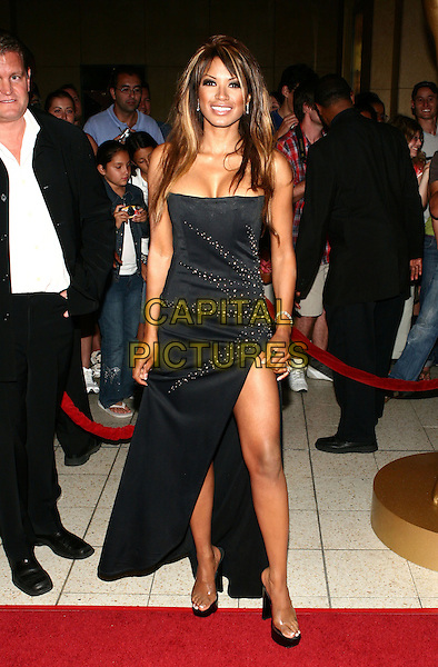 TRACI BINGHAM.2005 World Music Awards Arrivals held at the Kodak Theatre, Hollywood, California..August 31st, 2005 .Ref: ZL.full length black dress strapless sequins slit split .www.capitalpictures.com.sales@capitalpictures.com.© Capital Pictures.