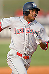 Lakewood BlueClaws shortstop C. J. Henry heads toward third base in game action versus the Kannapolis Intimidators at Fieldcrest Cannon Stadium in Kannapolis, NC, Saturday, August 5, 2006.