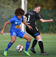 20191116 – WONDELGEM, BELGIUM : Gent's Kassandra Missipo (L) and Aalst's Elien Van Wynendaele (R) pictured during a women soccer game between AA Gent Ladies and Eendracht Aalst in the ¼  quarter finals of the Belgium Women's Cup Competition  season 2019-2020 , saturday 16 th November 2019 at the Neptunus site stadium in Wondelgem,  Gent  , Belgium  .  PHOTO SPORTPIX.BE | DIRK VUYLSTEKE