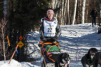 Becca Moore during the Restart of the 2016 Iditarod in Willow, Alaska.  March 06, 2016.