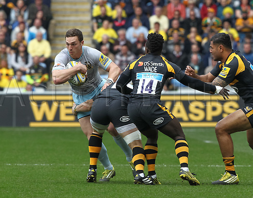 03.04.2016. Ricoh Arena, Coventry, England. Rugby Aviva Premiership. Wasps versus Northampton Saints.   Saints George North in action.