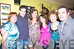 Enjoying the new year celebrations in the Saddle bar Listowel  were Matt M Alan Harnett, Louise Loughnane, Cathy O' Sullivan, Christy Harnett, Tom Lynch, Willie Boyle D J O' Sullivan and Sharon Egan...