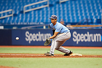 Carlos Vargas (21) waits to receive a throw during the Tampa Bay Rays Instructional League Intrasquad World Series game on October 3, 2018 at the Tropicana Field in St. Petersburg, Florida.  (Mike Janes/Four Seam Images)