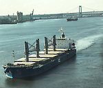Aerial view of PCL Ikan Jebuh Crude Tanker Along the Delaware River, outside of Philadelphia