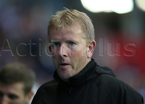 August 8th 2017, Madejski Stadium, Reading, England; Carabao Cup First Round; Reading versus Gillingham; Gillingham Manager Adrian Pennock prepares for kick off