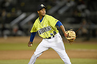 Pitcher Willy Taveras (40) of the Columbia Fireflies delivers a pitch in a game against the Charleston RiverDogs on Thursday, April 4, 2019, at Segra Park in Columbia, South Carolina. Charleston won, 2-1. (Tom Priddy/Four Seam Images)