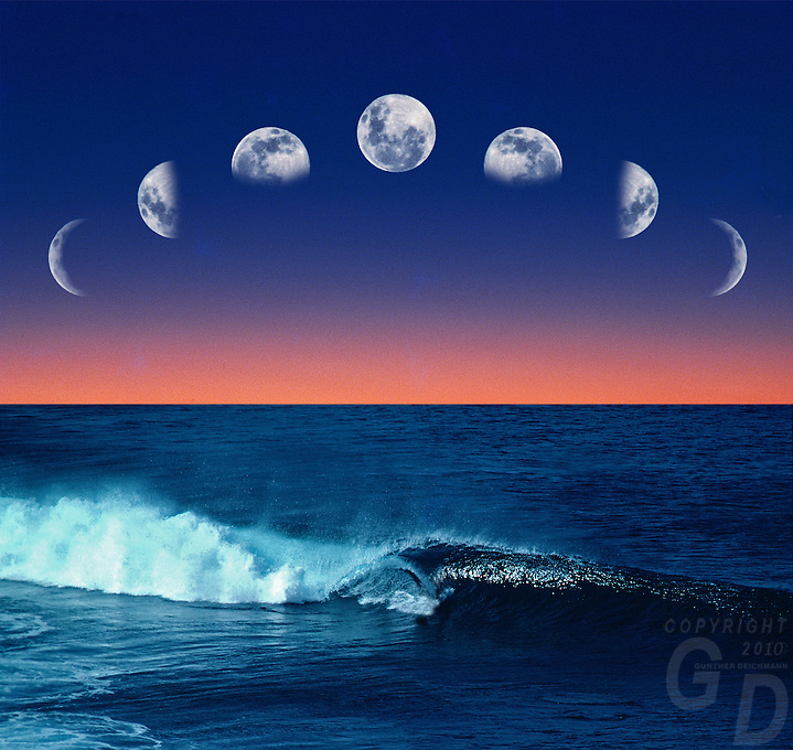 Conceptional Image of the Moon Phase over the Ocean illustrating Tidal movement