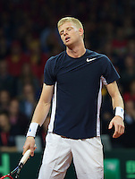 Gent, Belgium, November 27, 2015, Davis Cup Final, Belgium-Great Britain, First match, Kyle Edmund (GBR) shows his frustration<br /> © Henk Koster/Alamy Live News