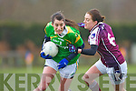 Kerry's Emma Sherwood goes past Galway's  Emer Flaherty during their NFL game in Spa on Sunday