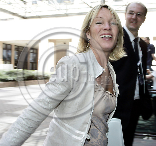 BRUSSELS - BELGIUM -19 JULY 2004--EU-Council meeting of Justice and Interior Ministers.-- Lene ESPERSEN, the Danish Minister of Justice arriving to the meeting.--PHOTO: JUHA ROININEN / EUP-IMAGES