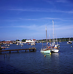 Boats at moorings on the River Deben, Woodbridge, Suffolk, England