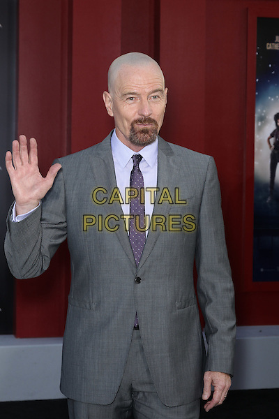 """Bryan Cranston .World Film Premiere of New Line Cinemas' """"Rock of Ages"""" at Grauman's Chinese Theatre. Hollywood, CA USA. June 8, 2012..half length hand waving gesture goatee beard facial hair purple tie grey gray suit blue shirt .CAP/CEL.©CelPh/Capital Pictures..."""