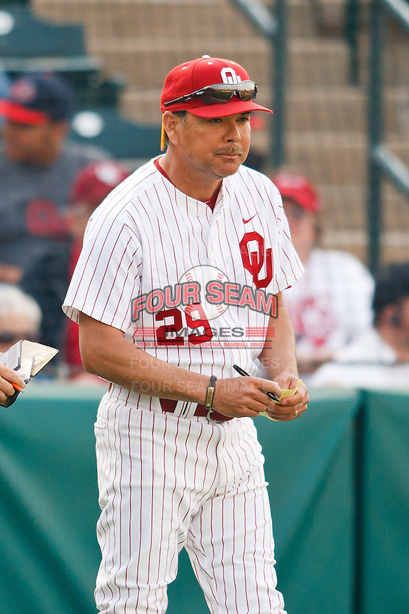 OU head coach Sunny Golloway (29) during the NCAA matchup between the University of Arkansas-Little Rock Trojans and the University of Oklahoma Sooners at L. Dale Mitchell Park in Norman, Oklahoma; March 11th, 2011.  Oklahoma won 11-3.  Photo by William Purnell/Four Seam Images