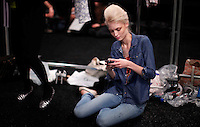 New York, United States, September 2011..People attend The Mercedes-Benz Fashion Week 2011 in New York  VIEWpress / Kena Betancur.During September 8th-15th saw over 100,000 guests attend designer runway shows and presentations of over 98 American and international designers..Local media reported.