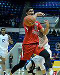 January 11, 2017:  Fresno State forward, Cullen Russo #13, loses the ball after being fouled during the NCAA basketball game between the Fresno State Bulldogs and the Air Force Academy Falcons, Clune Arena, U.S. Air Force Academy, Colorado Springs, Colorado.  Air Force defeats Fresno State 81-72.