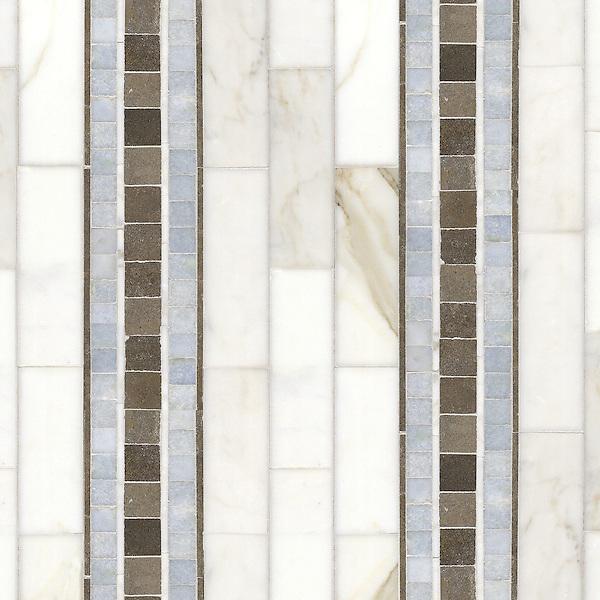 Name: Serene Stripe<br /> Style: Contemporary<br /> Product Number: CB0515<br /> Description: Serene Stripe in Calacatta Tia, Thassos, Celeste (p), Montevideo