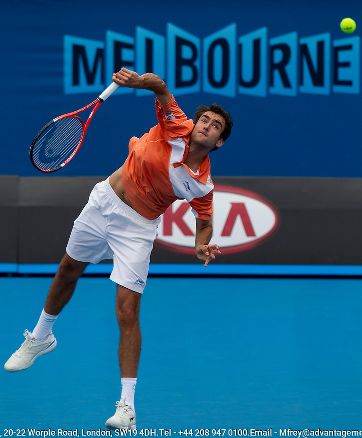 Marin Cilic (CRO) (15) against Donald Young (USA)  in the 1st round of the men's singles. Marin Cilic beat Donald Young 6-3 6-2 6-1... ..... .International Tennis - Australian Open  -  Melbourne Park - Melbourne - Day 1 - Mon 17th January 2011..© Frey - AMN Images, Level 1, Barry House, 20-22 Worple Road, London, SW19 4DH.Tel - +44 208 947 0100.Email - Mfrey@advantagemedianet.com.Web - www.amnimages.photshelter.com